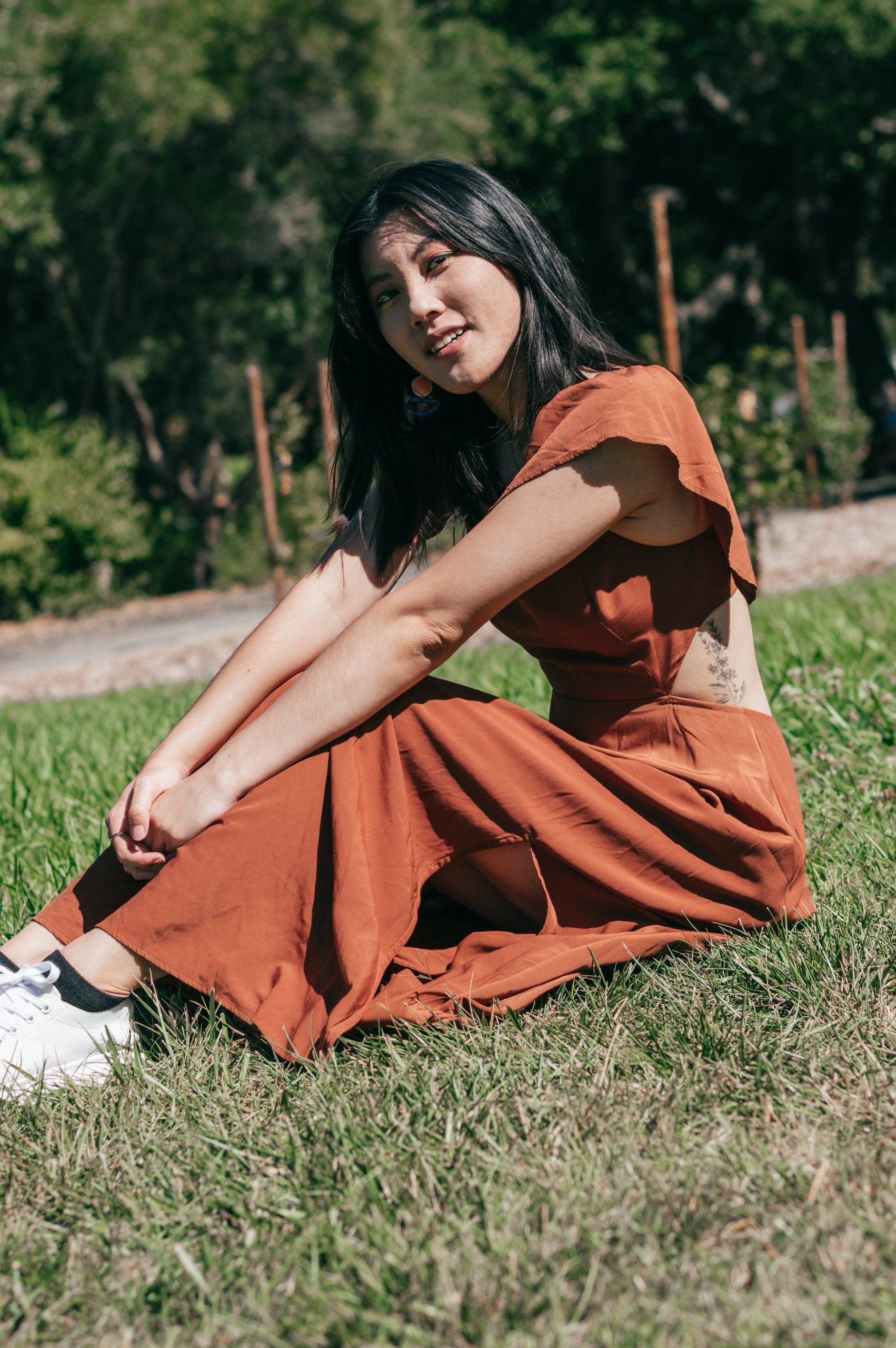 fall dress sitting down
